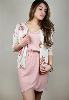 Vintage Floral Print Cardigan Button Down Pink Rose Sweater