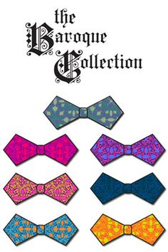 The Baroque Collection: 7 Cut & Sew Bow-Ties + fabric designed by J. Thomson.    7 bow ties for only $27! #bowties #spoonflower #lavaguy