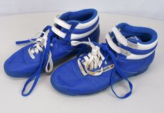 Vintage 80s REEBOK Freestyle Classic High Top Sneakers 9.5 Velcro Blue/White Gym #Reebok #Athletic