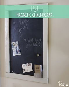 This DIY magnetic chalk board was made from chalk paint & a piece of sheet metal! – metal of life Memo Boards, Chalk Board, Bulletin Boards, Magnetic Chalkboard, Chalkboard Paint, Chalk Paint, Pin Up Photos, Diy Gifts For Friends, Metal Projects