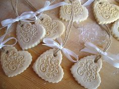 Set of 12 Salt Dough stamped LOVE Tags Ruffled by DaBeautyBakery
