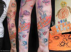 ondrash tattoo design childrens drawings on skin childhood home flowers sun cute fun creative