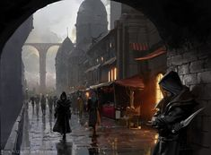 Illustration done for Magic the Gathering. Enhanced Surveillance - Magic the Gathering Fantasy City, Fantasy Places, High Fantasy, Medieval Fantasy, Sci Fi Fantasy, Fantasy World, Magic The Gathering, Dungeons And Dragons, Mtg Art