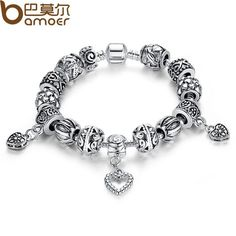 BAMOER Antique Silver Charm Fit Pan Bracelet Bangle Silver 925 With Heart Pendant for Women Wedding Vintage Jewelry PA1431