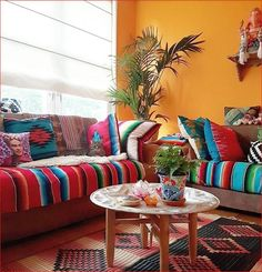 88 beautiful apartment living room decor ideas with boho style Mexican Living Rooms, Mexican Bedroom, Mexican Interior Design, Interior Ideas, Mexican Home Decor, Colourful Living Room, Deco Design, Ux Design, My New Room