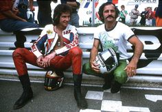 Barry Sheene and Yvon Duhamel. Two of my favourites from my youth. A great photograph, the guys look so relaxed. Different times...