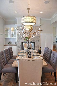 Dining Room Decor Ideas - Elegantes Esszimmer im traditionellen Stil . Dining Room Inspiration, Home Decor Inspiration, Decor Ideas, Decorating Ideas, Dinning Room Ideas, Style At Home, Dining Room Design, Dining Area, Dining Chairs