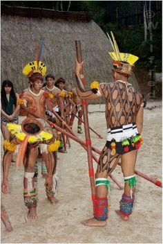 Kuikuro indians from Xingu during a performance at Toca da Raposa, São Paulo, Brazil.