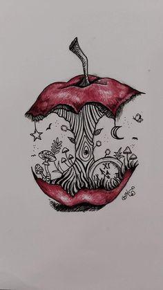 art sketches ~ art sketches & art & art sketchbook & art inspiration & art drawings & art wallpaper & art journal i Trippy Drawings, Psychedelic Drawings, Dark Art Drawings, Art Drawings Sketches Simple, Cool Drawings, Disney Drawings, Random Drawings, Tattoo Drawings, Tattoo Sketch Art