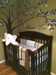 I wanted to design a room that the baby could grow into.  I knew from the beginning that I wanted a tree mural so once I chose that & the colors everything else just came together.