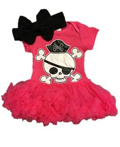 Infant Girls Pirate Skull Hot Pink Petti Skirt and Body Suit  one piece  #Unbranded #CasualParty