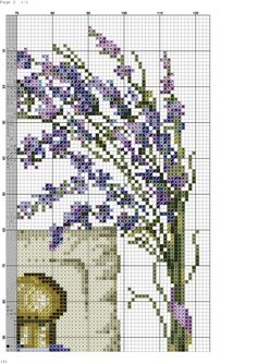 Photo Counted Cross Stitch Patterns, Cross Stitch Charts, Cross Stitch Embroidery, Lavender Flowers, Cross Stitch Flowers, Cross Stitching, Needlepoint, Hand Sewing, Sewing Projects
