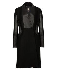 Leather detail coat - Black | Jackets & Coats | Ted Baker