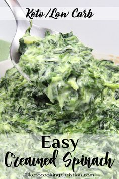 Easy Creamed Spinach - Keto and Low Carb Chopped spinach in a creamy cheesy sauc. - Keto and Low Carb - All Recipes ~ Keto Cooking Christian - Keto Creamed Spinach, Creamy Spinach, Low Carb Keto, Low Carb Recipes, Vegetarian Keto, Lunch Recipes, Salad Recipes, Cheesy Sauce, Healthy Foods