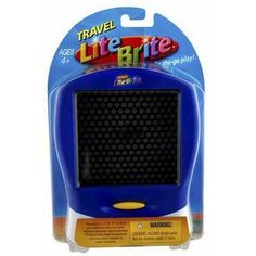 Hasbro Lite Brite Blue - Travel Game by Hasbro. $27.33. Create glowing pictures of light that you design! This travel-sized LITE-BRITE console has a built-in storage drawer for keeping all of the colored pegs within reach. Simply press the pegs in to the screen, turn on the screen and voila! Youve got colorful, light-up creations!
