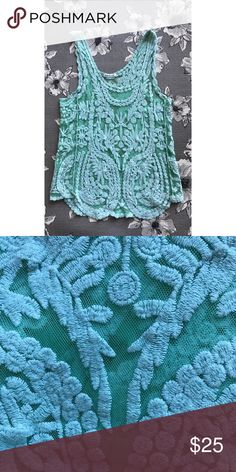 Gorgeous lace/crochet tank top EUC delicate turquoise lace/crochet  tank top. Only worn a handful of times. Looks great with a bralette or cami underneath! Tops Tank Tops