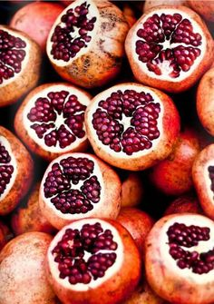 Pomegranates, a potent symbol in many myths and religions, symbolize life and death, fertility and marriage, abundance and prosperity, and rebirth and eternal life. And, of course, they're delicious!