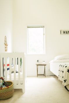 Nice post on sharing room with baby. They have the Bloom Alma crib. More photos at link.