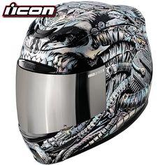 Icon Airmada Bioskull Helmet Chrome/Black XL/X-Large Icon Motorcycle Helmets, Icon Helmets, Cool Bike Helmets, Helmets For Sale, Motorcycle Outfit, Bike Icon, Helmet Paint, Custom Helmets, Biker Gear