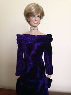 Franklin Mint Princess Diana Doll Dress Purple Velvet Gown