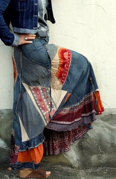Crazy banjara patchwork recycled denim long skirt by jamfashion