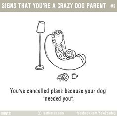 "Dogs: SIGNS THAT YOU'RE A CRAZY DOG PARENT #3: You've cancelled plans because your dog ""needed you""."