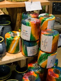 Goofy, yet useful! And a Eugene classic. Tie dyed toilet paper by Alex Lanham, on Holiday Blvd in space Holiday Market, Tie Dyed, Fresh Rolls, Stocking Stuffers, Toilet Paper, Ethnic Recipes, Food, Space, Classic