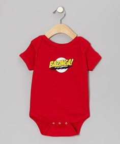 While little one's may not appreciate the referential graphic just yet, they'll surely enjoy hearing the expression that graces this bodysuit. Made of soft cotton, with a lap neck and snap closures, this bodysuit is the big bang of comfort and logic. 100% cottonMachine wash; tumble dryImported