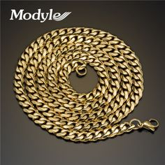 Modyle 2016 New Fashion Long Necklace 3mm/5mm/7mm wide stainless steel long gold plated necklace chain for women men jewelry
