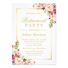 Partido de aposentadoria floral chique elegante do convite 12.7 x 17.78cm