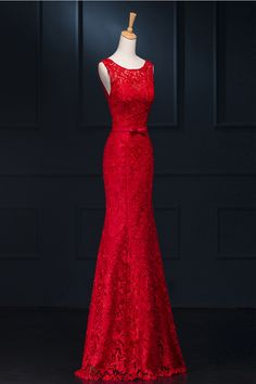 Real Sexy Red Lace Long Mermaid Backless Prom Evening Dresses ED0713