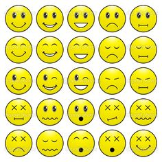 expression faces cartoon | Pack of faces (emoticons) with various emotions…