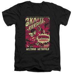 Superman/Metropolis Meltdown Short Sleeve Adult T-Shirt V-Neck