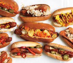 Having a backyard BBQ reception? Check out these fancy hot dogs -- yum yum! #wedding #food