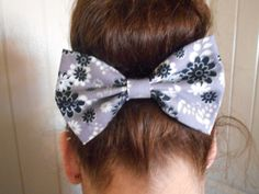 Adorable gray and white hair bow with flowers by TheDABcollection, $3.99