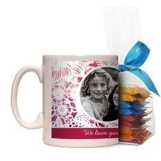 Floral Frame Mug, White, with Ghirardelli Minis, 11 oz, Red
