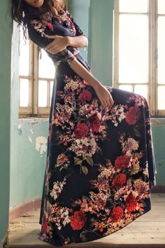 Colorful Floral Print Maxi Dress