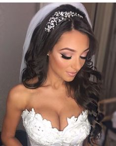 Bride Makeup Our gorgeous bride Nicole looking absolutely radiant in her Bride Hairstyles With Veil, Wedding Hairstyles For Women, Down Hairstyles, Bride Hair With Veil, Glamorous Hairstyles, Bridal Hairstyles, Hair Style Bride, Gorgeous Hairstyles, Updo Hairstyle