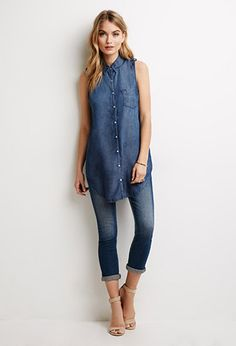sleeveless chambray button down w/ jeans.