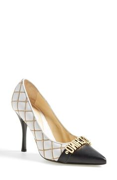 "Women's Moschino Letter Pointy Toe Pump, 4"" heel"