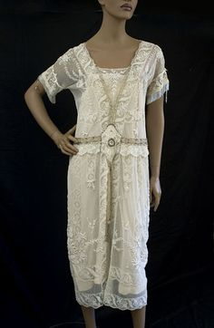 Hand-embroidered lace tea dress, c.1920