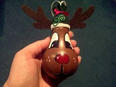 Reindeer light bulb ornament - made by Paula Wroblinski