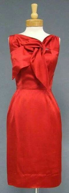 Red satin dress with bow/tie neck detail