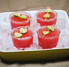 Watermelon Margarita Recipe  salt, lime wedges, 1 cup tequila, 1 cup fresh watermelon juice, 1/3 cup fresh lime juice, 1/2 cup Cointreau, ice