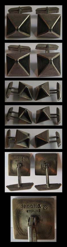 """MARGARET DE PATTA VINTAGE STERLING SILVER MODERNIST SCULPTURAL CUFFLINKS  Great vintage pair of sterling silver sculptural modernist cufflinks are signed DE PATTA STERLING for Margaret De Patta. Each measures 5/8"""" by 1"""". Weight is 13 grams for the pair.  Price $1,800"""
