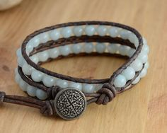 Bohemian chic beaded leather wrap bracelet. Double by SinonaDesign
