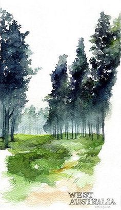 The wood around Russell Road, Frankland River by Park Sunga Watercolor Landscape Paintings, Watercolor Trees, Landscape Art, Bird Paintings, Easy Watercolor, Indian Paintings, Watercolor Portraits, Abstract Paintings, Watercolor Techniques