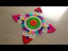 Unique and creative rangoli designs/awesome beautiful FESTIVAL'S Rangoli designs by jyoti Rathod Easy Rangoli Designs Videos, Simple Rangoli Designs Images, Colorful Rangoli Designs, Rangoli Designs Diwali, Kolam Rangoli, Mehndi Images, Beautiful Rangoli Designs, Kolam Designs, Best Rangoli Design