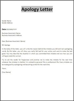 Professional Apology Letter - Free sample letters of apology for personal and professional situations. Also, tips on writing apology letters. Business Letter Sample, Letter Format Sample, Business Letter Template, Letter Templates Free, Paper Templates, Letter To Boss, Letter To Best Friend, Email Writing, Business Writing