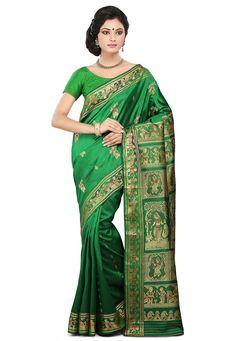 Buy Green Pure Baluchari Silk Handloom Saree with Blouse online, work: Hand Woven, color: Green, usage: Wedding, category: Sarees, fabric: Silk, price: $257.78, item code: SQGA37, gender: women, brand: Utsav